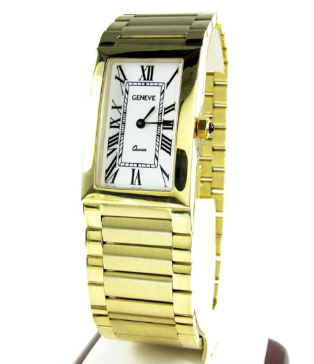 Mens 14k Yellow Gold Geneve Quartz Watch