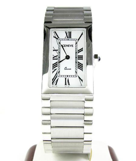 Mens 14k white gold geneve quartz watch