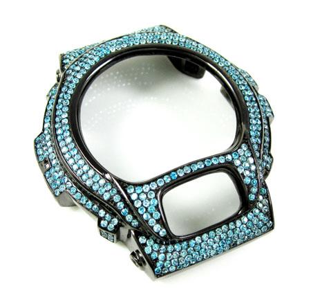 Black stainless steel aqua blue cz g-shock case dw-6900 5.00ct