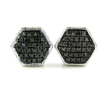925 White Sterling Silver Black Diamond Earrings 0.35ct