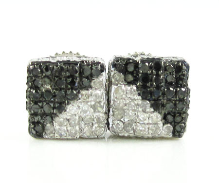 925 White Sterling Silver White & Black Diamond Earrings 0.35ct
