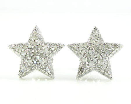 925 White Sterling Silver Diamond Star Earrings 0.35ct