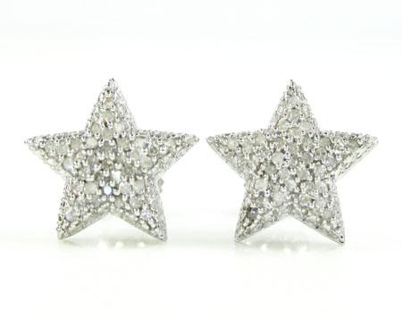 925 white sterling silver diamond star earrings 0.35ct