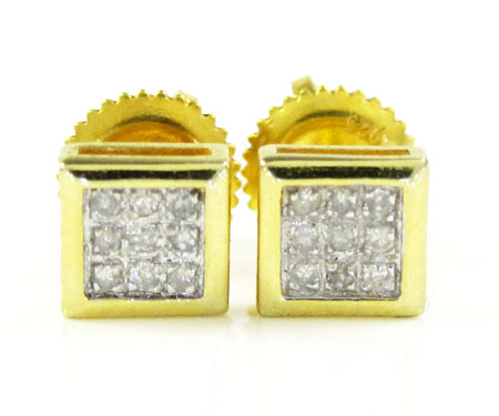 925 Yellow Sterling Silver Diamond Earrings 0.10ct