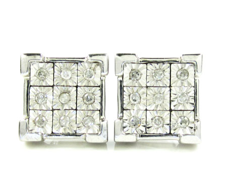 925 White Sterling Silver Diamond Earrings 0.35ct
