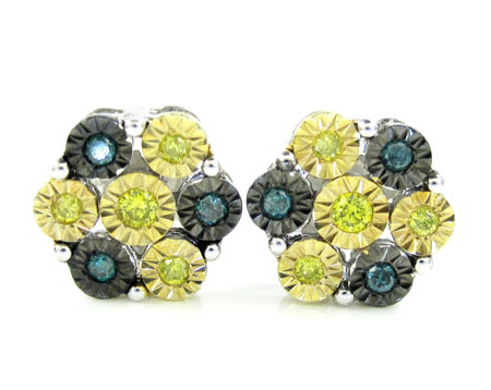 925 Three Tone Sterling Silver Canary & Blue Diamond Cluster Earrings 0.35ct