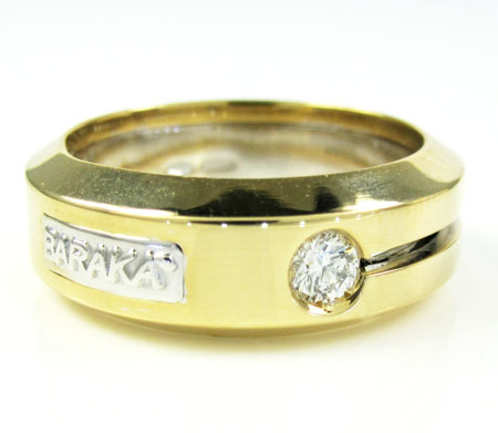 Mens baraka 18k yellow gold diamond ring 0.10ct