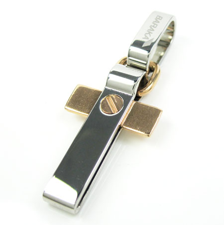 Mens Baraka 18k Rose Gold White Stainless Steel Cross