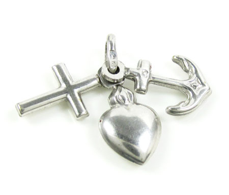 14k White Gold Hope & Charity Pendant