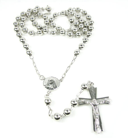 10k White Gold Rosary Smooth Bead Chain 30inch 7mm