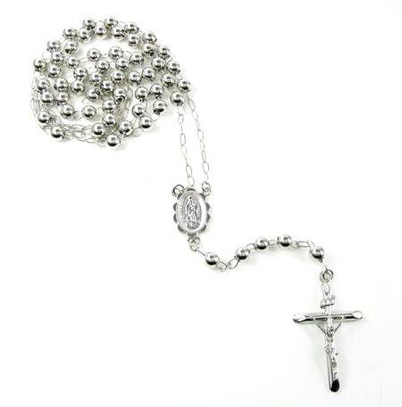 10k White Gold Rosary Smooth Bead Chain 26inch 5mm