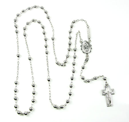 10k White Gold Rosary Smooth Bead Chain 26inch 4mm