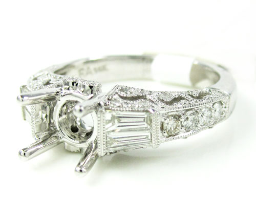 Ladies 14k White Gold Round & Baguette Diamond Semi Mount Ring 0.62ct