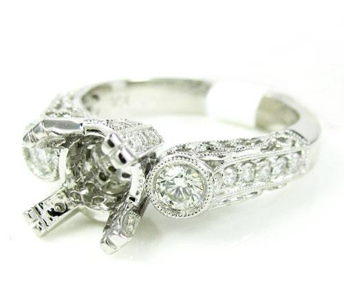 Ladies 14k white gold round diamond semi mount ring 0.56ct