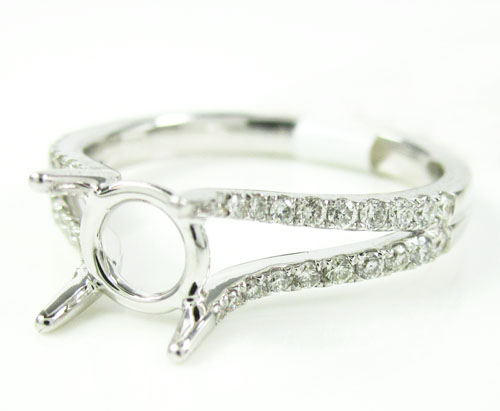 Ladies 18k White Gold Round Diamond Semi Mount Ring 0.30ct