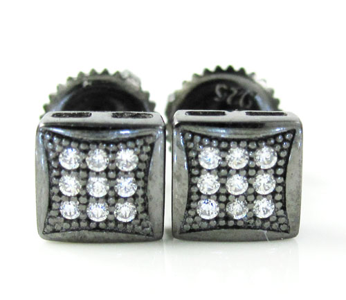 .925 Black Sterling Silver White Cz Earrings 0.18ct