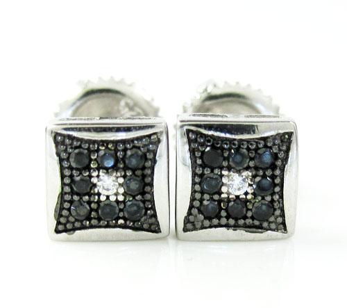 .925 White Sterling Silver Black & White Cz Earrings 0.18ct