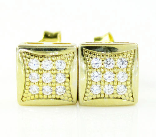 .925 Yellow Sterling Silver White Cz Earrings 0.18ct