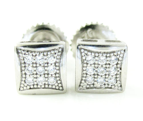 .925 white sterling silver white cz earrings 0.18ct