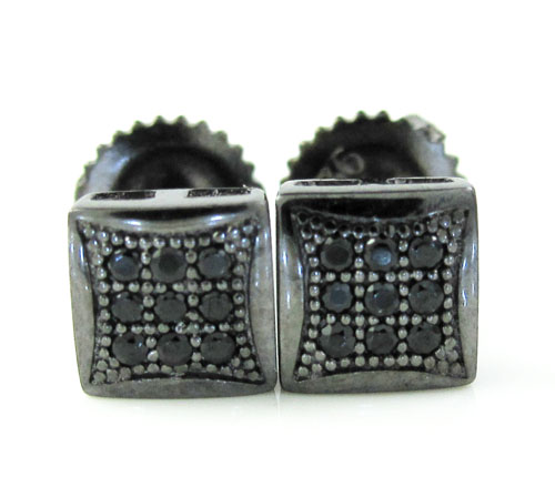 .925 Black Sterling Black Cz Earrings 0.18ct