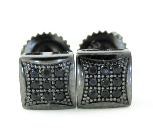 .925 black sterling black cz earrings 0.18ct