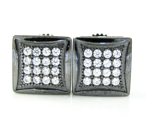 .925 black sterling silver white cz earrings 0.32ct