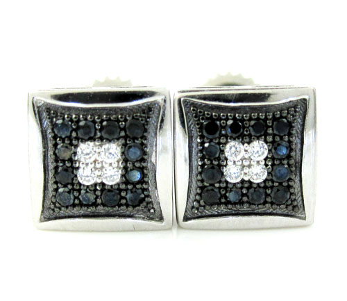 .925 White Sterling Silver Black & White Cz Earrings 0.32ct