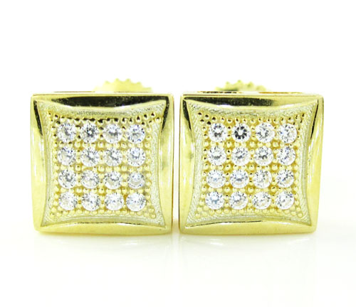 .925 Yellow Sterling Silver White Cz Earrings 0.32ct