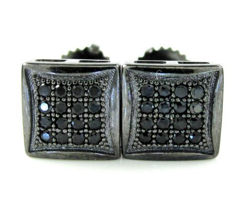 .925 Black Sterling Silver Black Cz Earrings 0.32ct