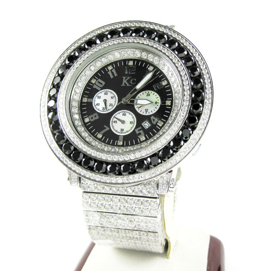 Mens techno com kc black & white cz xl bezel watch 25.00ct