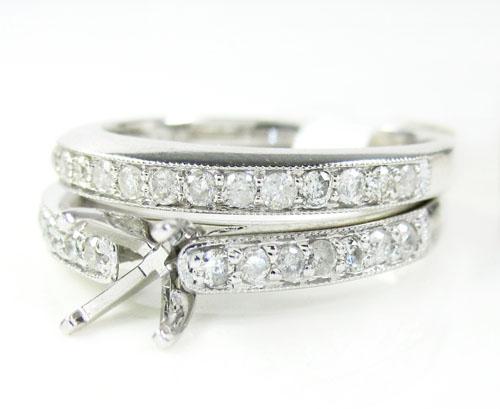 14k White Gold Diamond Semi Mount Ring Set 0.60ct