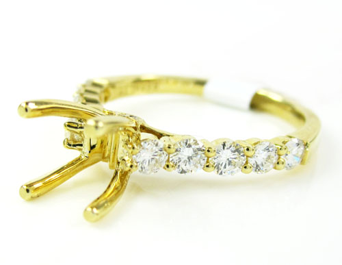 18K Yellow Gold Round Diamond Semi Mount Ring 0.66CT