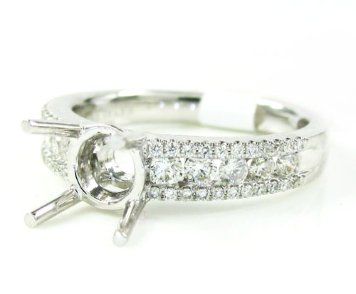 18K White Gold Round Diamond Semi Mount Ring 0.51CT