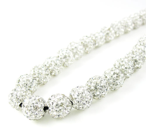 White Rhinestone Macramé Bead Black Rope Chain 50.00ct