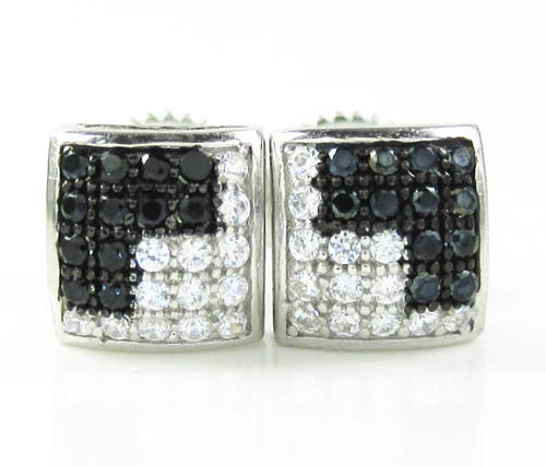 .925 Black Sterling Silver White & Black Cz Earrings 0.50ct