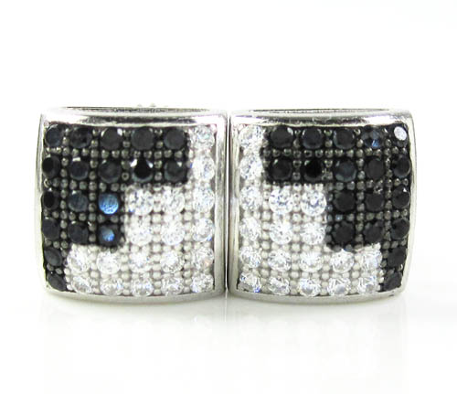 .925 White Sterling Silver Black & White Cz Earrings 0.72ct