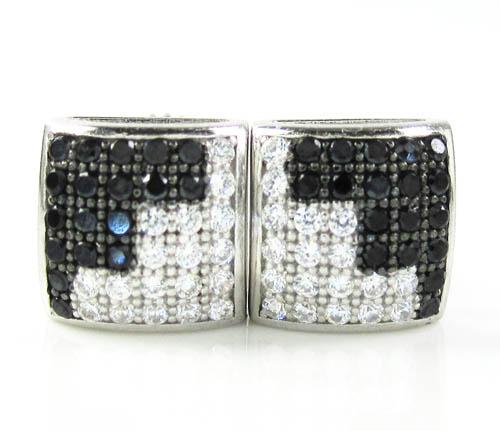 .925 White Sterling Silver Black & White Cz Earrings 0.72ct