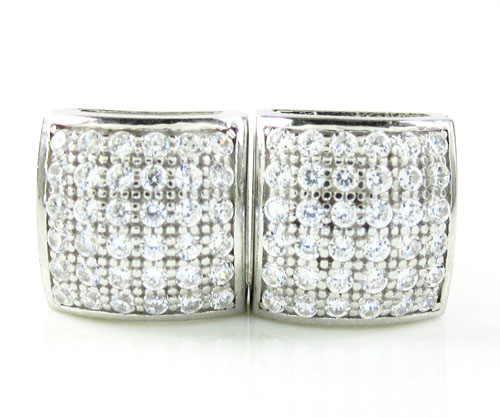 .925 white sterling silver white cz earrings 0.72ct