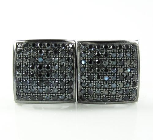 .925 Black Sterling Silver Black Cz Earrings 1.28ct