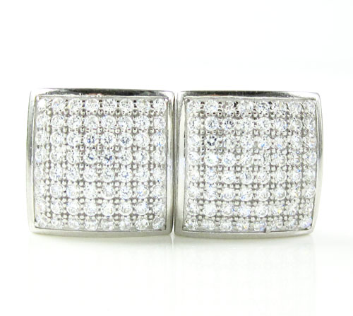 .925 white sterling silver white cz earrings 1.28ct