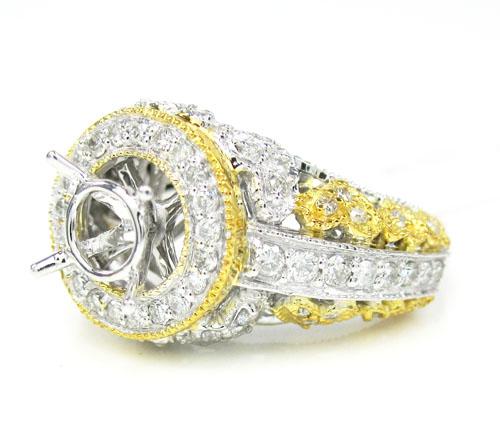 14k Two Tone Gold Diamond Heart Semi Mount Ring 0.74ct