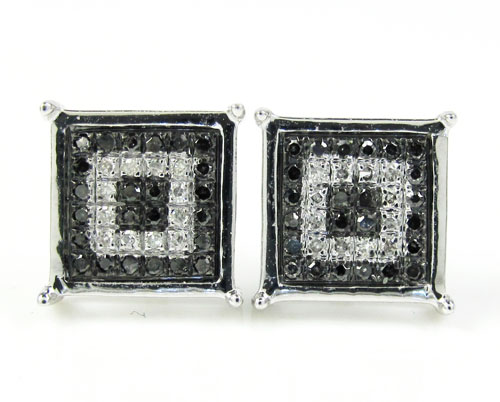 10k White Gold White & Black Diamond Cube Pave Earrings 0.16ct