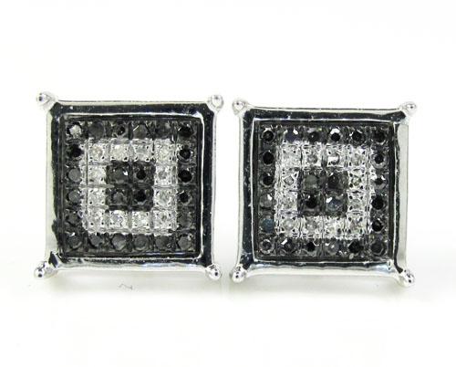 10k White Gold White & Black Diamond Cube Pave Earrings 0.16ct