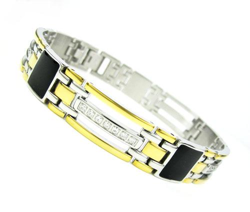 Mens two tone stainless steel multi link black onyx cz bracelet 0.28ct