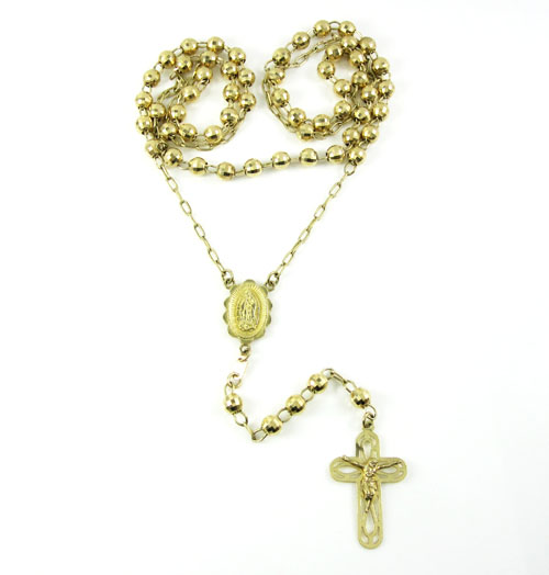 14k yellow gold diamond cut bead jesus cross rosary 26 inch 5mm