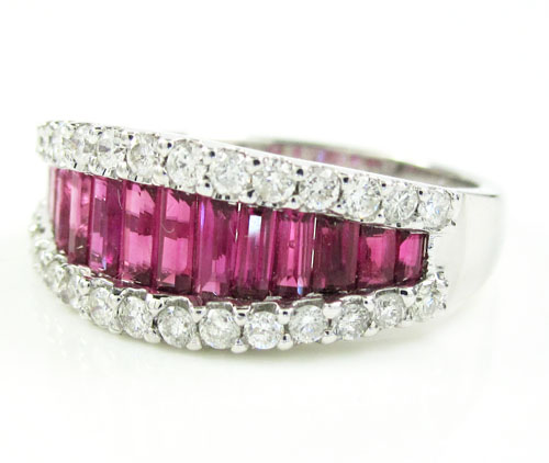 Ladies 18k white gold diamond & ruby fashion ring 1.94ct