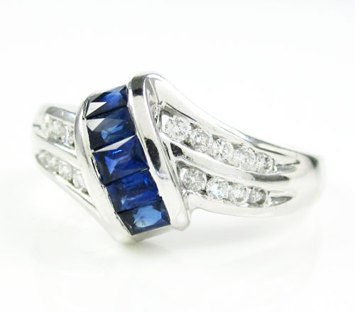 Ladies 14k White Gold Diamond & Blue Sapphire Fashion Ring 0.76ct