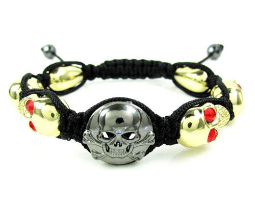 Red Rhinestone Copper Macramé Skull Bead Rope Bracelet 6.00ct