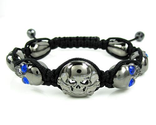 Blue Rhinestone Copper Macramé Skull Bead Rope Bracelet 6.00ct