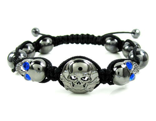 Blue Rhinestone Copper Macramé Skull Bead Rope Bracelet 2.00ct